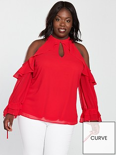 v-by-very-curve-cold-shoulder-ruffle-blouse-rednbsp