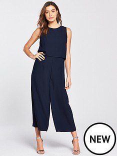 warehouse-double-layer-culotte-jumpsuit-navy