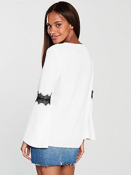 Ivory by Black Trim V Lace Very Top Sleeve Fluted  Wide Range Of For Sale 9TcJRT