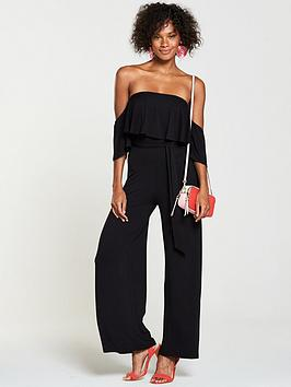 Low Cost Sale Online Bardot Petite V Black  Jersey Frill Very Jumpsuit by Manchester For Sale cgA1n5ApDG