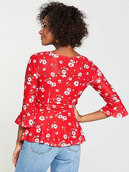 Very Floral Drawstring  Top Red V Mesh by Front For Sale Buy Authentic Online From China For Sale Purchase Your Favorite  Outlet Sast ZBctW