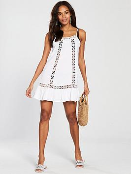 Very by  Dress V White Floral Crochet Insert Excellent Sale Online Buy Cheap Cheapest Reliable For Sale 2xiFpMWECt