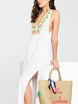 by nbsp White Very V Maxi  Dress Embroidered Split Beach New For Sale Cheap Really Very Cheap Sast Cheap Price DXoQI