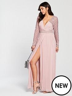 frock-and-frill-belina-long-sleeve-pleated-skirt-maxi-dress