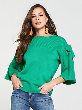 v-by-very-bow-sleeve-jumper-green