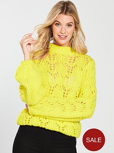 v-by-very-pointelle-balloon-sleeve-jumper--nbspchartreuse