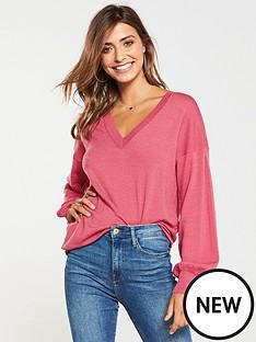 v-by-very-v-neck-blouson-sleeve-slouch-jumper-blush