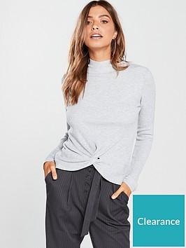 v-by-very-twist-front-skinny-rib-jumper-grey-marl