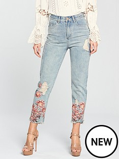 lost-ink-high-waist-straight-jeans-with-floral-print-hem-distressed-light-denim