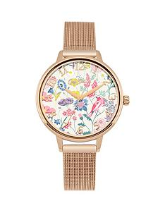 cath-kidston-cath-kidston-highgate-fields-floral-printed-dial-rose-gold-tone-mesh-bracelet-ladies-watch