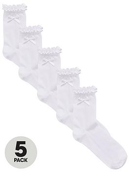 v-by-very-girls-5-pack-frill-and-bow-ankle-socks-white