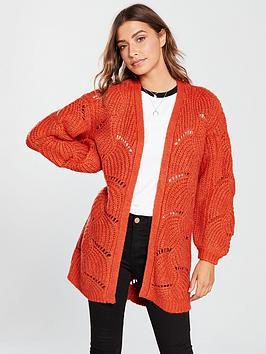 v-by-very-pointelle-detail-cardigan-orange