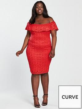 3cf1b4f5ead AX PARIS CURVE Curve Frill Off Shoulder Lace Midi Dress - Red ...
