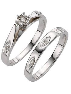love-diamond-9ct-white-gold-5-point-diamond-bridal-set