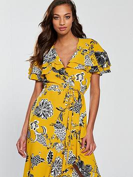 Sale 100 Authentic River Island  Yellow Dress Wrap Floral Outlet Manchester AsN9xI