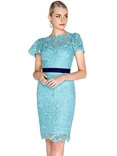 a5d3d05a9515 Paper Dolls Crochet Lace Fluted Sleeve Contrast Waist Dress