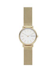 skagen-signatur-gold-ip-mesh-bracelet-white-dial-ladies-watch