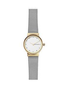skagen-skagen-ladies-watch-stainless-steel-mesh-bracelet-gold-ip-case-white-dial-with-clear-crystals-accents