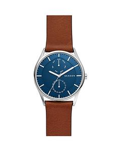 skagen-skagen-mens-watch-brown-leather-strap-stainless-steel-case-with-blue-multifunction-dial