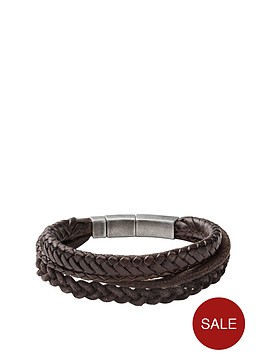 fossil-mensnbspstacked-brown-leather-bracelet
