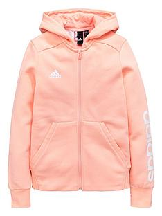 adidas-older-girls-linear-hoodienbsp--coralnbsp