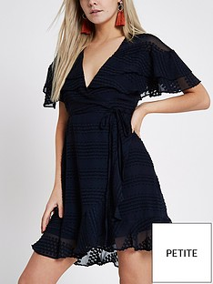ri-petite-textured-frill-mini-dress-navy