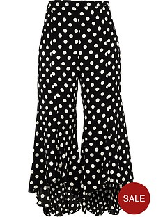 ri-petite-split-leg-frilly-spotted-trousers-black