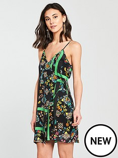 river-island-river-island-printed-wrap-cami-dress--black
