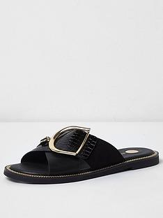 river-island-cross-strap-buckle-slider-black