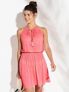v-by-very-shirred-waist-jersey-beach-dress-coral-pink
