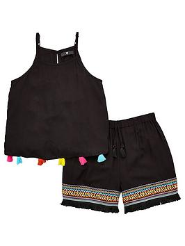 v-by-very-girls-bright-pom-pom-top-and-short-outfit-black