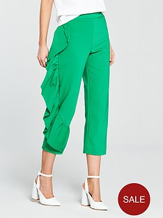 river-island-frill-leg-trousers--green