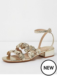 river-island-river-island-flower-strap-heeled-sandals--gold