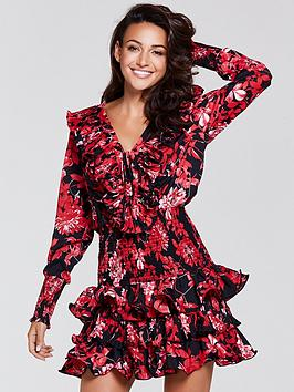 michelle-keegan-pleated-frill-dress-print