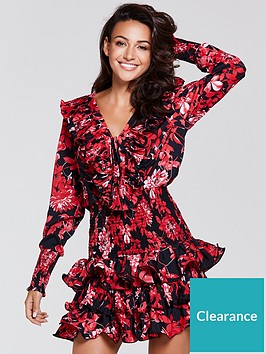 michelle-keegan-pleated-frill-dress-print