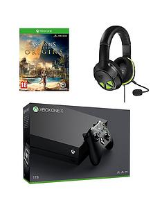 xbox-one-x-consolenbspwith-assassins-creed-origins-and-turtle-beach-xo-three-headsetnbspplus-optional-12-months-live-gold-andor-extra-controller