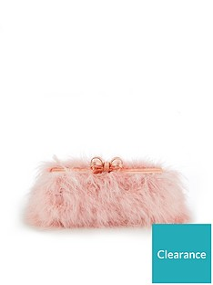 649bf4bb1fc19 Ted Baker Janiie Faux Feather Evening Clutch Bag - Light Pink