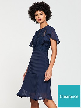 v-by-very-pleated-lace-frill-hem-dress-navy