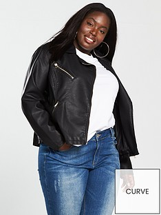 8bf07677fcc9a V by Very Curve Faux Leather Biker Jacket - Black