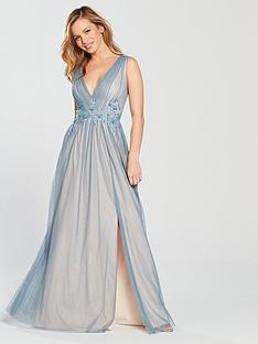 little-mistress-little-mistress-petite-v-neck-split-front-maxi-dress