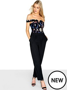 girls-on-film-floral-sweetheart-neckline-embroiderednbspbardot-jumpsuit-blacknbsp