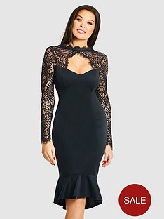 jessica-wright-calancia-lace-sleeve-fluted-hem-midi-dress