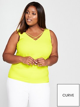 v-by-very-curve-cross-neck-caminbsp--chartreuse