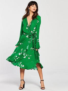 Discount Largest Supplier by  Printed Wrap Dress Very V Green Cheap Sale Prices 9Hp7A14