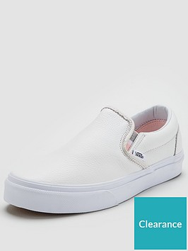 b278422cfe19d7 Vans Classic Leather Slip On - White