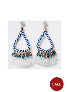 river-island-twist-rope-tassel-drop-earrings-bluewhite
