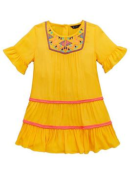 mini-v-by-very-girls-yellow-embroidered-pom-pom-detail-dress