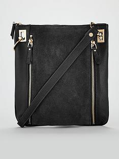 fb02e22633 V by Very Bayley Leather Zip Detail Cross-Body Bag - Black