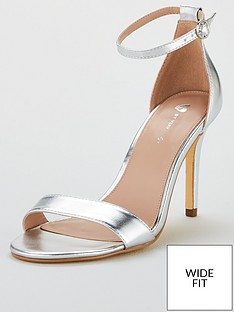 475e723d030b V by Very Wide Fit Gemma Mid Heel Minimal Sandal - Silver