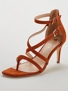 cab0fcce2c1 V by Very Gala Square Toe Mid Strappy Sandal - Tan ...